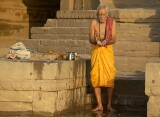 The Ganges river, Varanasi - preparing to bathe in the sacred waters