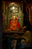 In the narrow streets of Old Varanasi there are many small shrines and worshippers