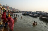 The Ganges river, Varanasi - bathing in the sacred waters in the early morning
